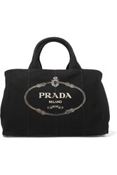 Prada Giardiniera Large Printed Canvas Tote Black