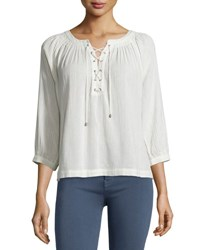 Joie Bordeaux Lace Up 3 4 Sleeve Top Natural