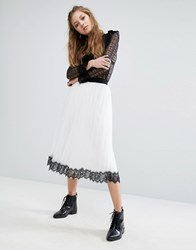 Navy London Tulle Skirt With Contrast Lace Hem White