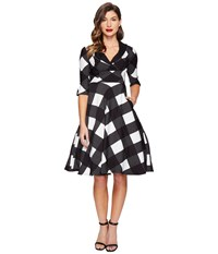 Unique Vintage Sleeved Trudy Swing Dress Black Ivory Checkered Women's Dress