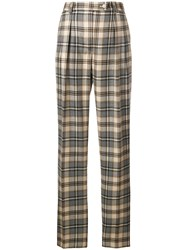 Alberta Ferretti High Waist Checked Trousers Brown