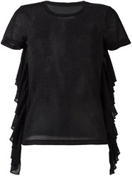 Maison Martin Margiela Mm6 Ruffle T Shirt Black