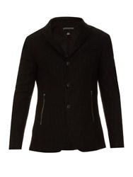 John Varvatos Textured Linen And Cotton Blend Blazer Black