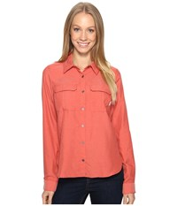 Columbia Pilsner Peak Ii Long Sleeve Shirt Coral Heather Women's Long Sleeve Button Up Orange