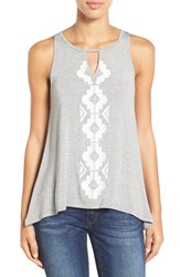 Dex Women's Embroidered Keyhole Tank
