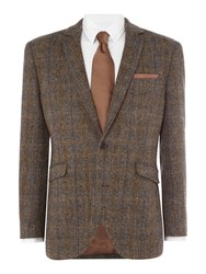 Harris Tweed Men's Sumburgh Herringbone Overcheck Blazer Brown