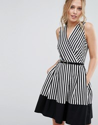 Closet London Wrap Front Skater Dress In Stripe With Belt Black White Multi