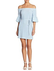 Donna Morgan Striped Off The Shoulder Dress Light Chambray