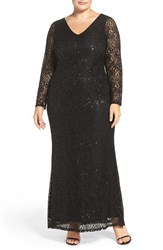 Marina Plus Size Women's Long Sleeve Sequin Lace Column Gown Black