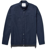 Sacai Slim Fit Shell Trimmed Cotton Blend Poplin Overshirt Navy