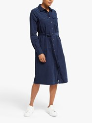 John Lewis Collection Weekend By Button Corduroy Shirt Dress Navy