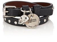 Alexander Mcqueen Studded Leather Double Wrap Bracelet Black