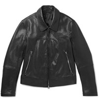 Tom Ford Slim Fit Leather Blouson Jacket Black