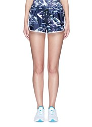 We Are Handsome 'The Cascade' Tidal Wave Print Active Running Shorts Blue