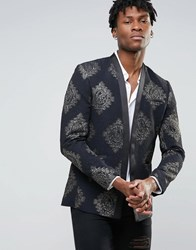 Asos Super Skinny Blazer With Metallic Jaquard Design Black