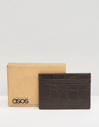 Asos Leather Card Holder With Crocodile Emboss In Brown Brown