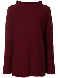 Daniela Gregis Slouchy Boat Neck Sweater Red