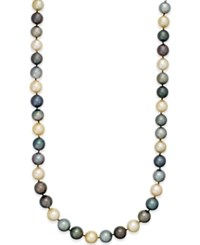 Macy's Multi Tonal Tahitian And Golden South Sea Pearl 10Mm Strand Necklace In 14K Gold