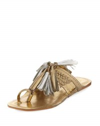 Figue Scaramouche Leather Tassel Sandal Gold
