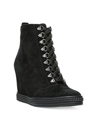 Fergie Jillian Suede Wedge Lace Up Booties Black
