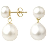 A B Davis 9Ct Gold Freshwater Pearl Double Drop Earrings White