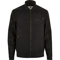 Jack And Jones River Island Mens Dark Grey Premium Bomber Jacket