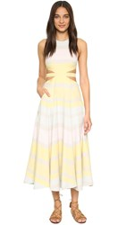 Mara Hoffman Cut Out Maxi Dress Gradient Stripe Taupe