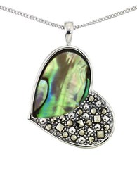 Lord And Taylor Abalone Heart Pendant Necklace