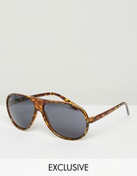 Reclaimed Vintage Aviator Sunglasses Brown