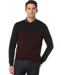 Perry Ellis Colorblocked Heathered Sweater Port