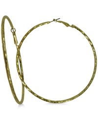 Guess Gold Tone Large Textured Hoop Earrings