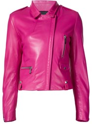 Barbara Bui Silver Tone Zip Fastening Biker Jacket Pink And Purple