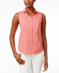 Charter Club Sleeveless Shirt Only At Macy's Strawberry Pink
