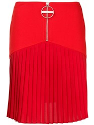 Givenchy Zip Front Pleated Mini Skirt Red