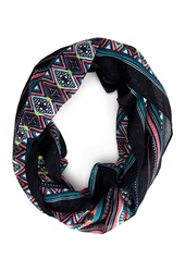 Forever 21 Eclectic Striped Infinity Scarf Navy Multi