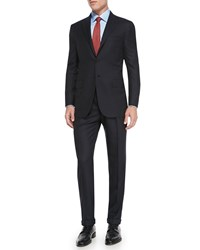 Kiton Solid Two Piece Suit Navy Navy Blue