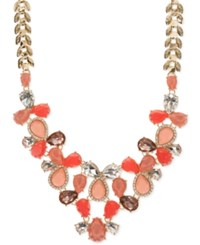 Nine West Gold Tone Red And Pink Stone Crystal Accented Drama Necklace