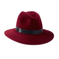 Penmayne Of London Willow Fedora Burgundy Feather Band Red