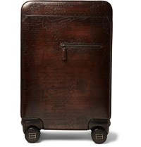 Berluti Formula 1004 Scritto Venezia Leather Rolling Suitcase Dark Brown