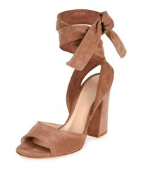 Gianvito Rossi Suede Ankle Wrap Sandal Nude