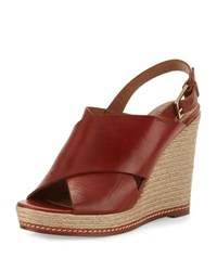 Andre Assous Cora Leather Espadrille Wedge Sandal Burnt Sienna