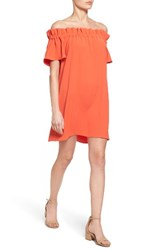 Pleione Women's Off The Shoulder Dress Orange Spice