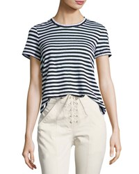 A.L.C. Tesi Striped Linen Tee Black White Black White