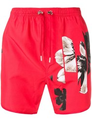 Neil Barrett Flower Print Swim Shorts Red