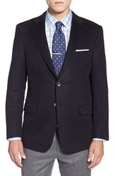 Men's Big And Tall Hickey Freeman Classic Fit Solid Wool And Cashmere Sport Coat Navy