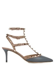 Valentino Rockstud Leather Pumps Grey Multi
