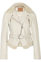 Mcq By Alexander Mcqueen Shearling Trimmed Leather Biker Jacket White