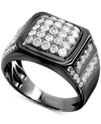Macy's Men's Gray Diamond Cluster Ring 2 Ct. T.W. In Sterling Silver With Gray Rhodium Plating Gunmetal