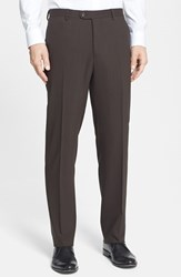 Santorelli Men's Big And Tall Flat Front Travel Trousers Coffee