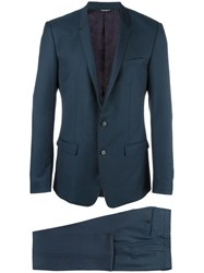 Dolce And Gabbana Gold Mirror Revers Suit Blue